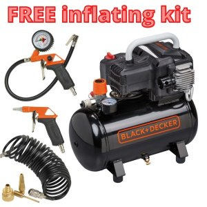 BD195/12-NK, 1.1kW 1.5Hp 12Lt Receiver 10 Bar, with free inflating kit & blow gun
